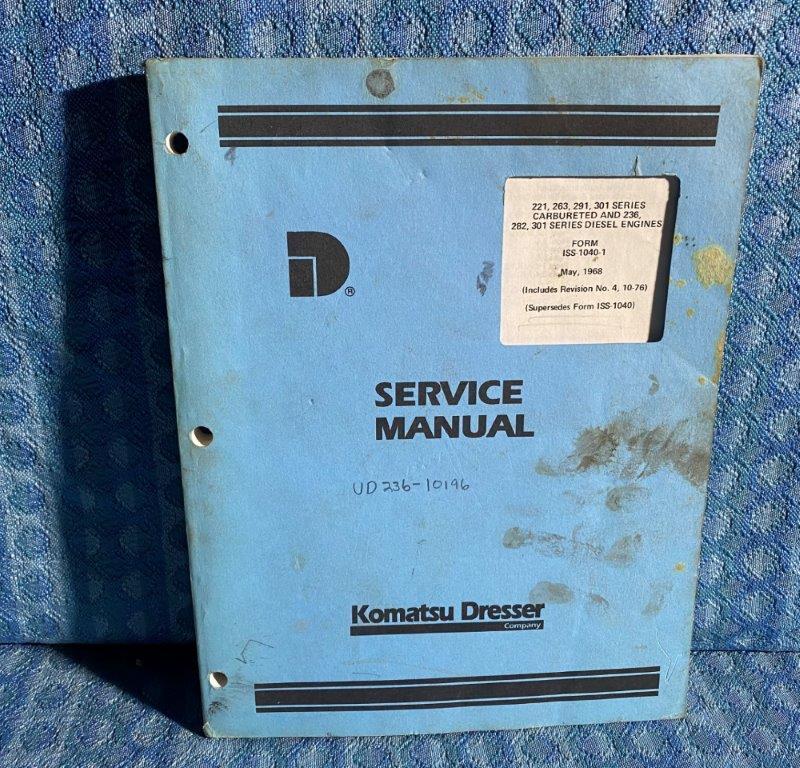 1968 Komatsu Dresser Carbureted & Diesel Engine OEM Service Manual SEE DETAIL AD