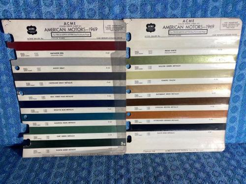 1969 AMC Rebel Javelin Ambassador Rambler Original ACME Paint Color Chip 2 Pages