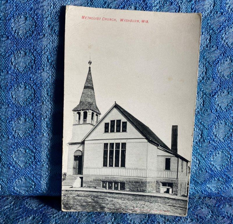 Circa 1908 Methodist Church, Washburn Wisconsin Original Photo Postcard