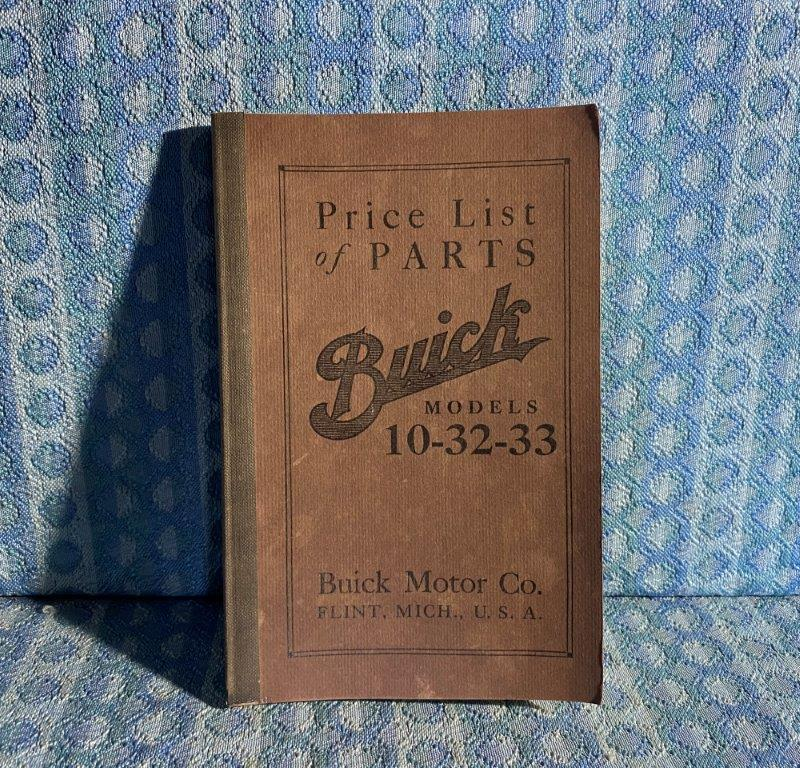 1910 - 1911 Buick Models 10, 32, 33 Parts Catalog & Price List