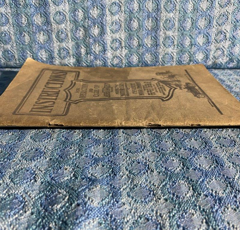 """1917-1918 Chevrolet Model """"F-A"""" Original Instruction Book / Owners Manual"""