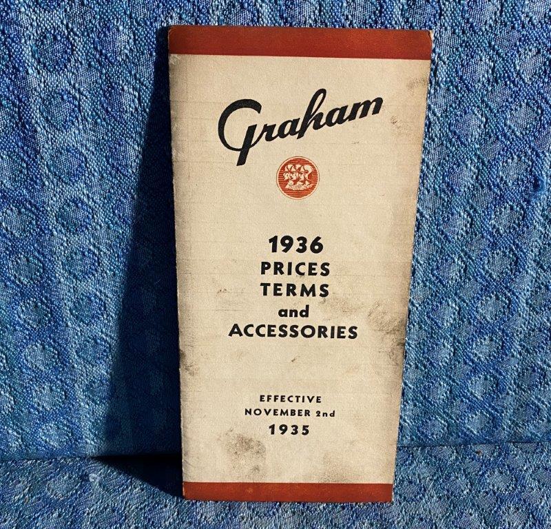 1936 Graham Original Dealer Only Prices, Terms & Accessories Folder