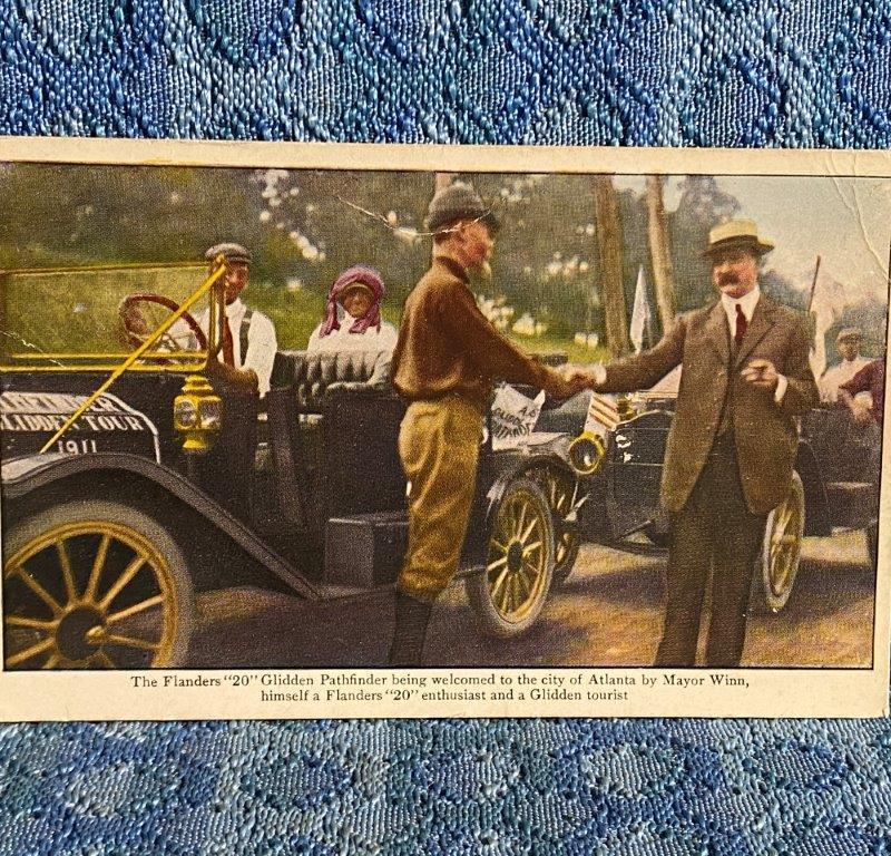 1911 Flanders 20 Pathfinder Glidden Tour Atlanta GA Mayor Original Postcard