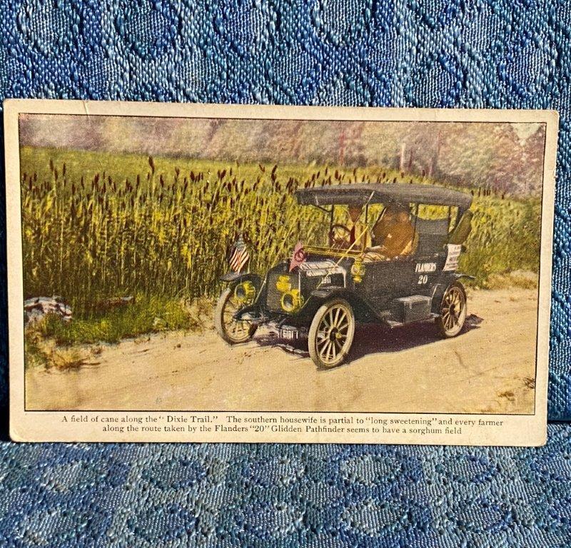 1911 Flanders 20 Pathfinder Glidden Tour Cane on Dixie Trail Original Postcard