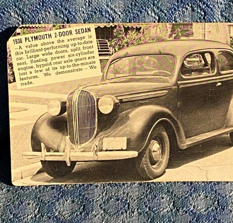 1938 2-Door Sedan Plymouth Original Dealer Postcard Shealy Mtr Co Prosperity SC