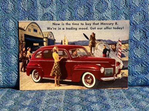 1941 Mercury Four Door Original Factory / Dealer Postcard Hayes & Andews Lima NY