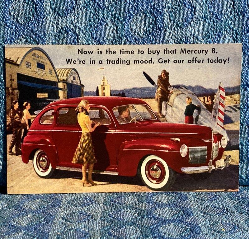 1941 Mercury Four Door Original Factory / Dealer Postcard Hayes & Andews Lima NY