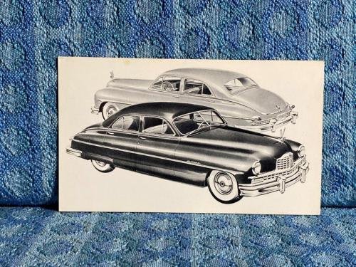 1950 Packard Custom 8, 4 Door Sedan NOS Factory / Dealer Postcard