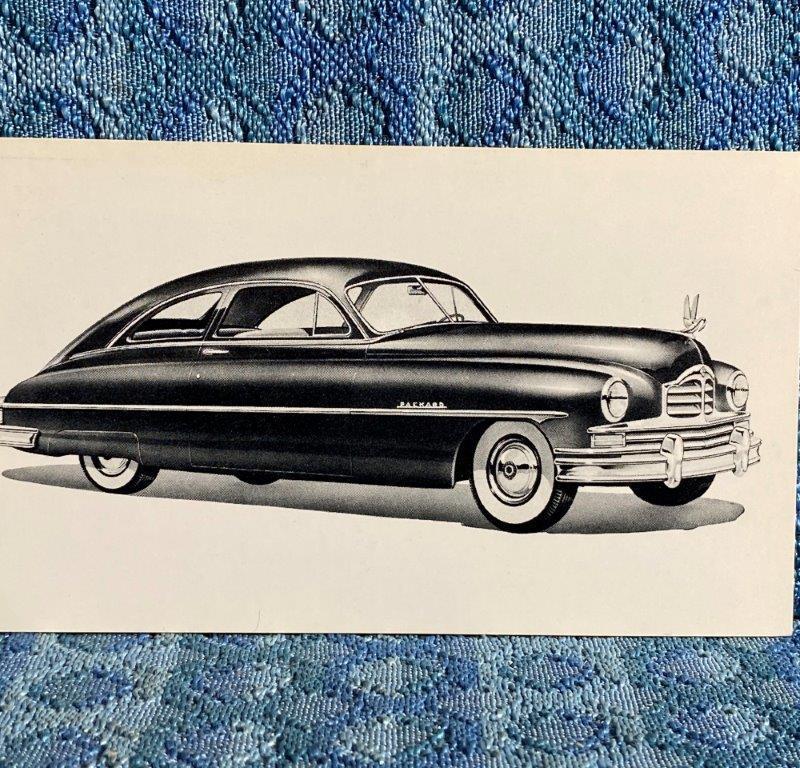 1950 Packard Super 8, 2 Door Sedan NOS Factory / Dealer Postcard