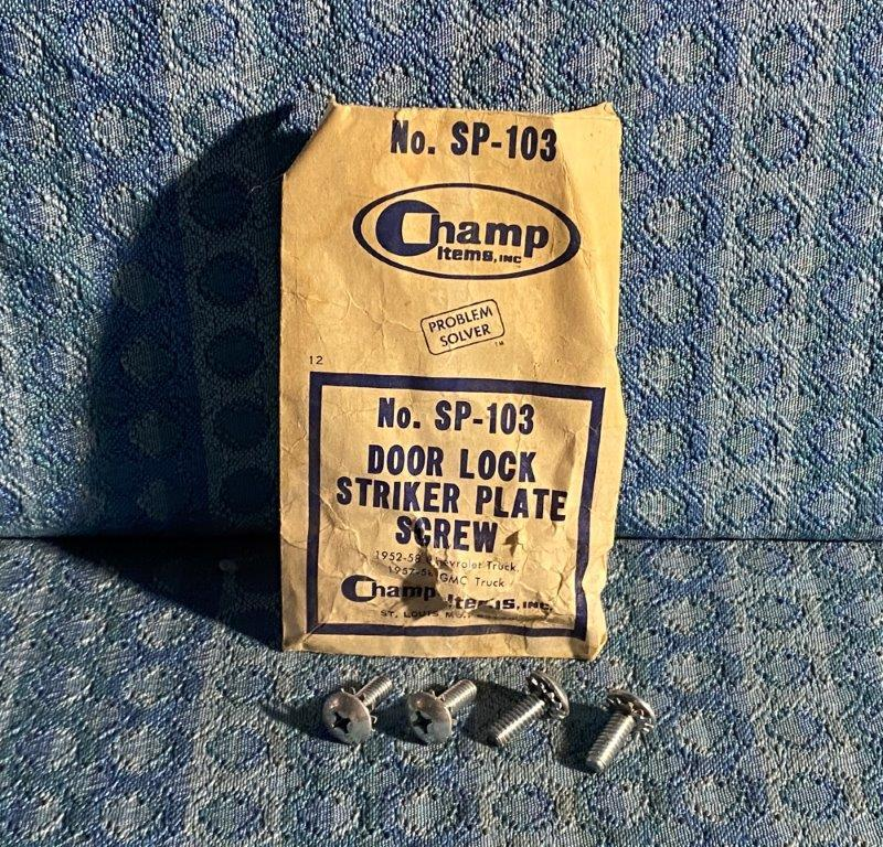 1952-1958 Chevrolet Truck 1957-58 GMC Pkg of 4 NORS Striker Plate Screws #SP-103