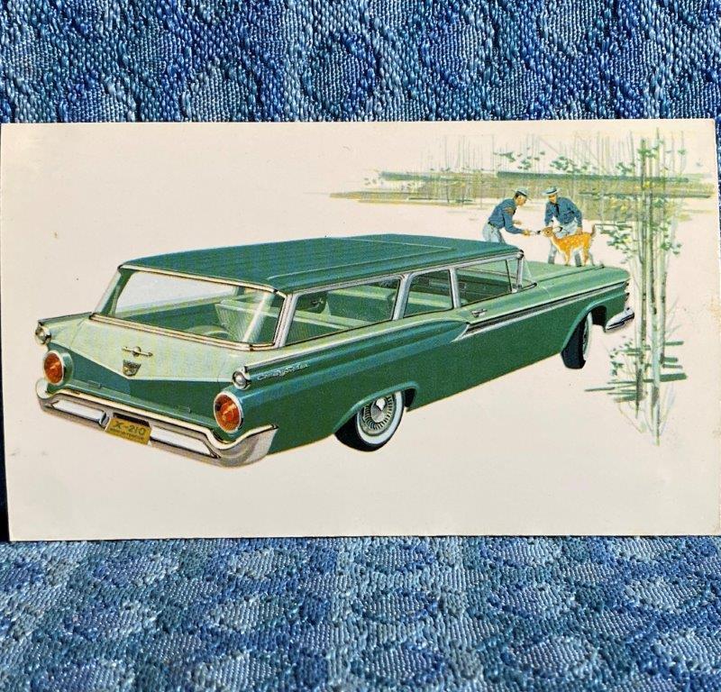 1959 Ford Tudor Ranch Wagon Original Factory / Dealer Advertising Postcard