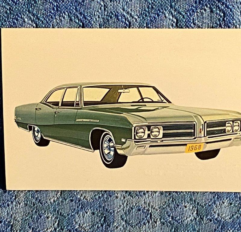 1968 Buick LeSabre 4-Dr Sedan NOS Factory/Dealer Postcard Sherer Buick Pekin IL
