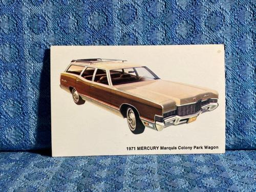 1971 Mercury Marquis Colony Park Wagon NOS Factory / Dealer Postcard