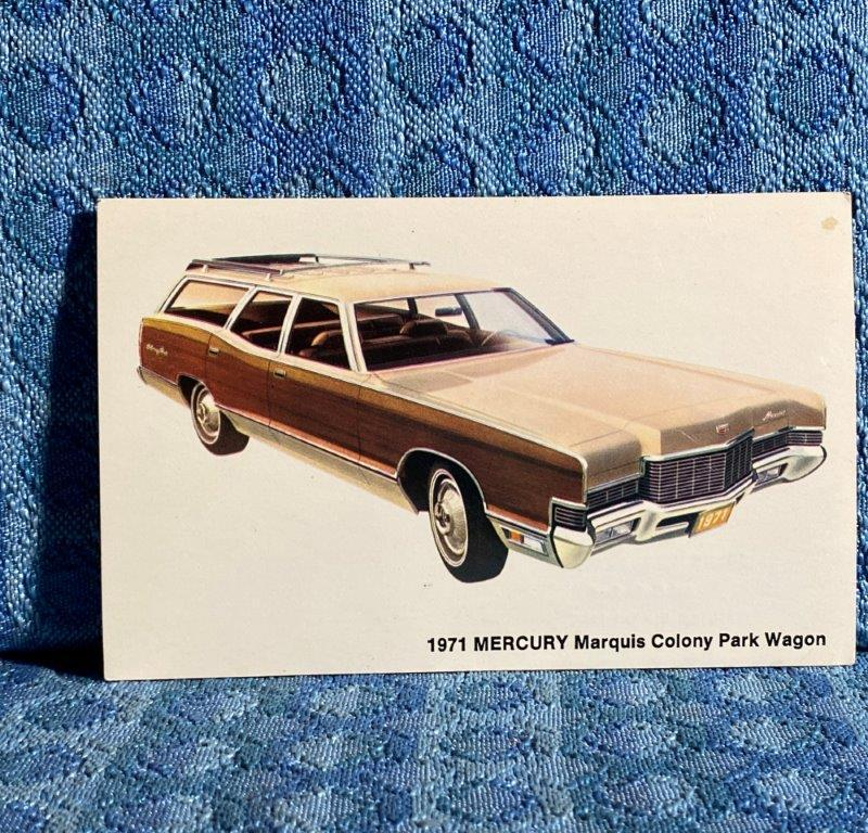 1971 Mercury Marquis Colony Park Wagon NOS Factory / Dealer Postcard