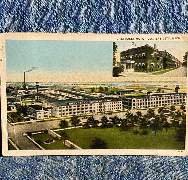 Circa 1920 Chevrolet Motor Car Co. Factory Bay City Michigan Original Postcard