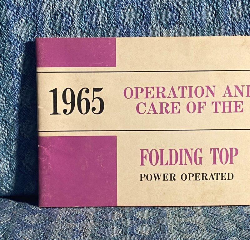 1965 Corvair Convertible Power Operated Folding Top Operation & Care Manual