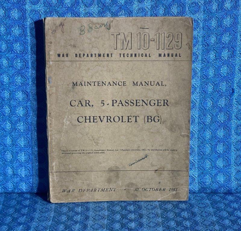 1942 Chevrolet 5 Pass Car Original War Department Maintenance Manual WWII