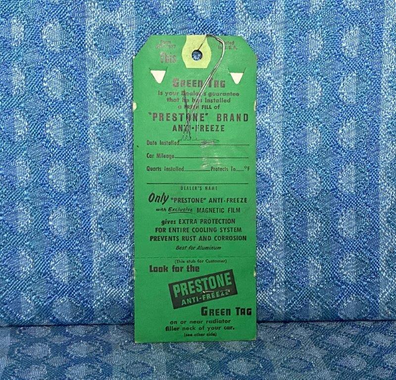 1960 Prestone Anti-freeze NOS Dealer Service Tag with Wire & Guarantee