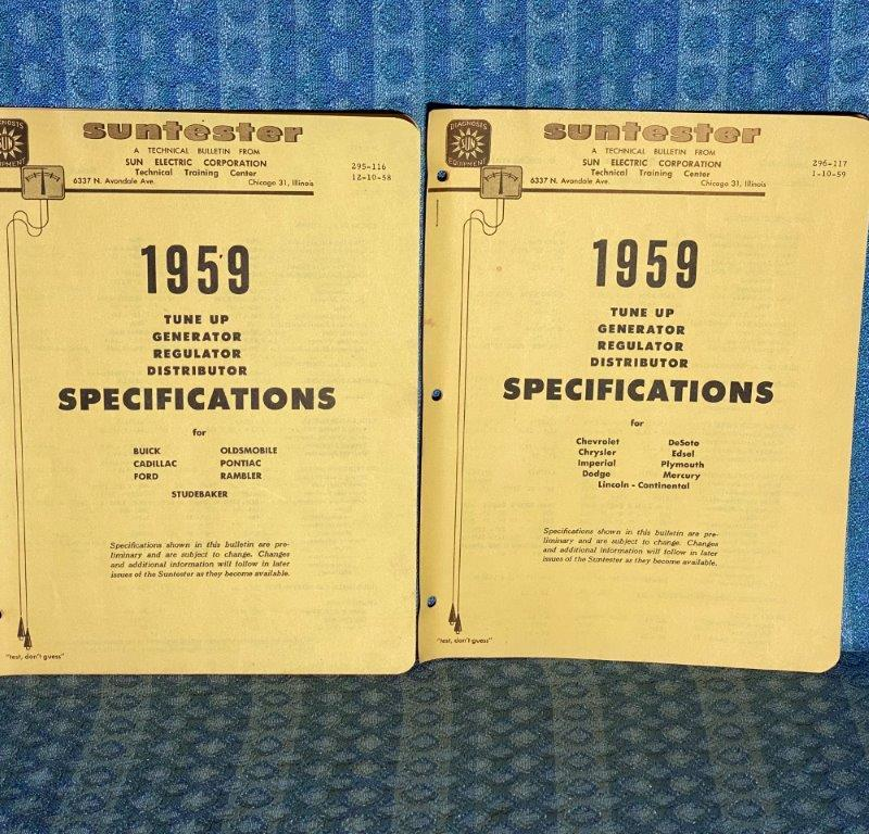 1959 Sun Tune-Up Specifications Manual GM Ford Chrysler Rambler Studebaker