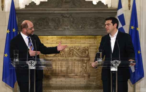 Greek Prime Minister Tsipras and European Parliament President Schulz hold a joint statement to media in the Greek Premier's office in Athens
