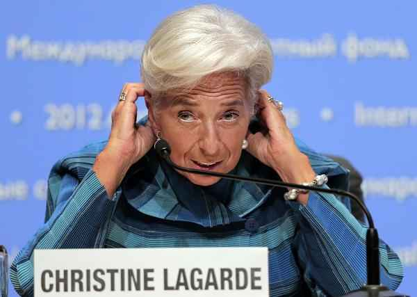International Monetary Fund (IMF) chief Christine Lagarde reacts during a news conference at the IMF and World Bank's annual general assembly in Tokyo, Thursday, Oct. 11, 2012. (AP Photo/Itsuo Inouye)