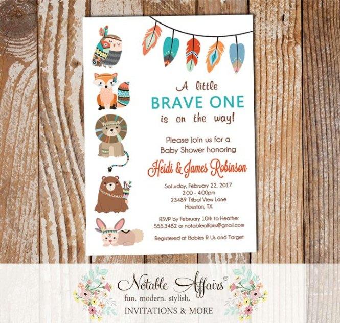 Brave One Tribal Woodland Fox Bear Bird Lion Bunny Baby Shower Invitation