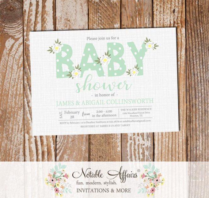 Ghost Mint Gender Neutral Flower Posie Modern Fl Baby Shower Invitation On Gray Linen