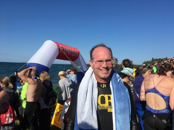 Dr. John A. McAree at the Mighty Mac Swim, August 11, 2019. Four+ miles of fun and eyes doing great.