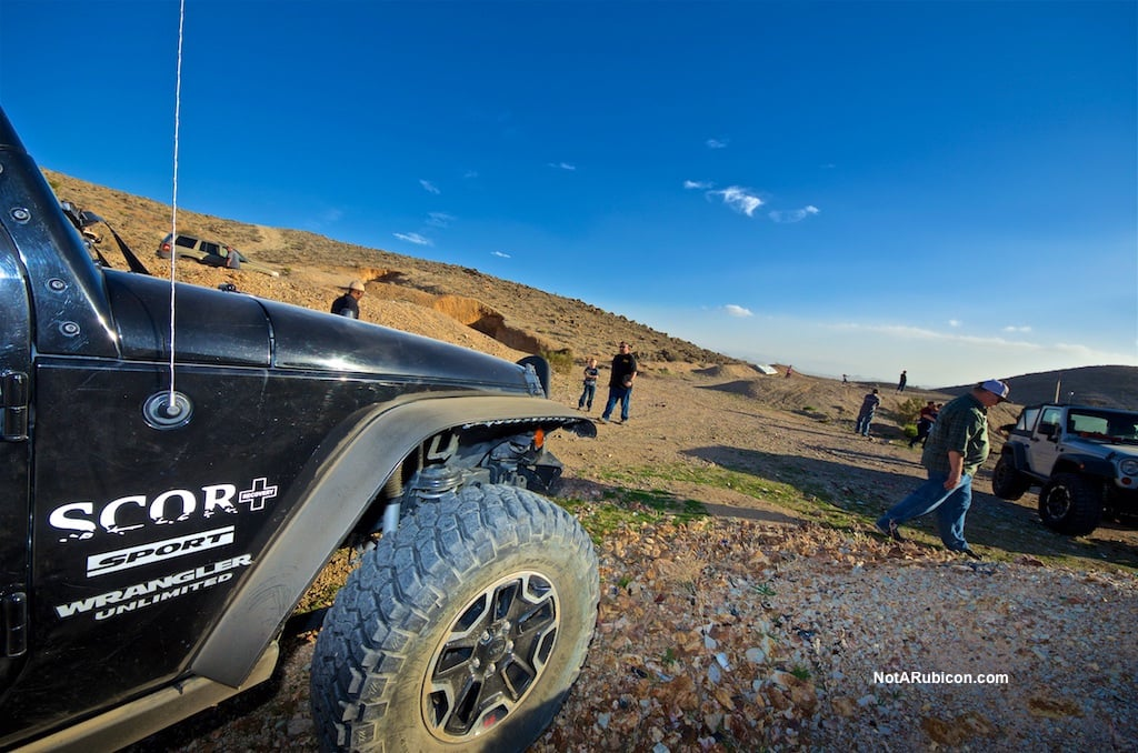 SCOR member Jeep in front of a mine near Victorville
