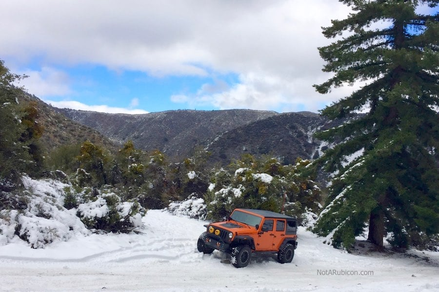 NotARubicon Jeep in the snow at Lytle Creek