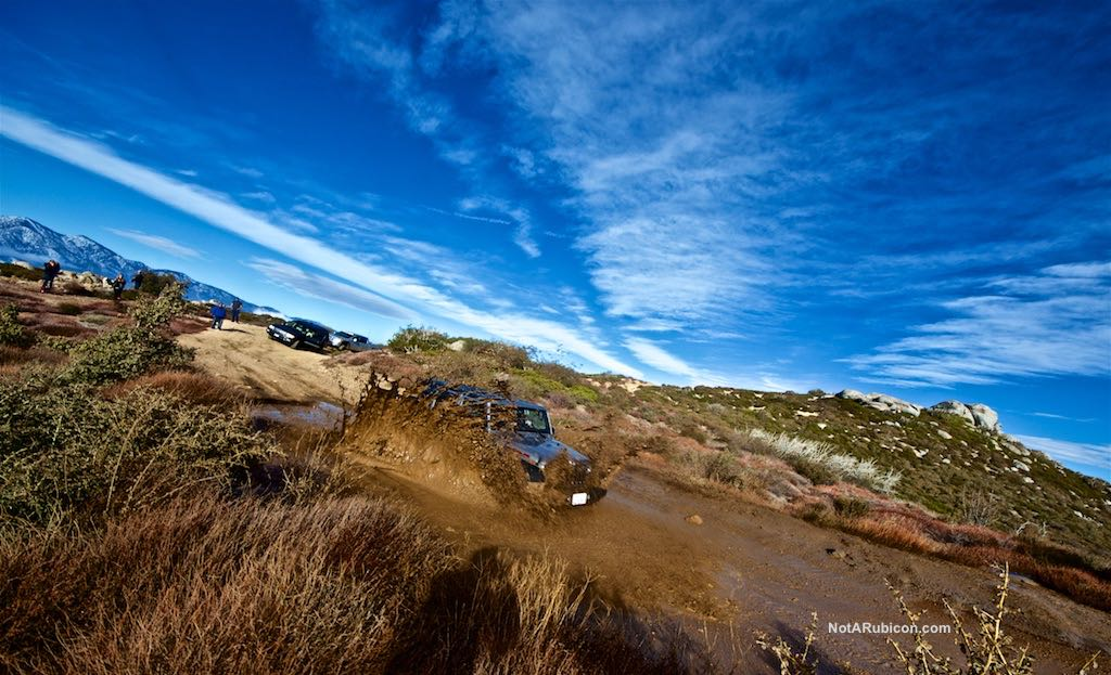 Stock Jeep Wrangler in the mud at Cleghorn