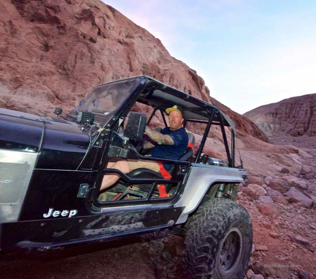 Jeremy Reese in his Jeep at the Calico Gatekeeper