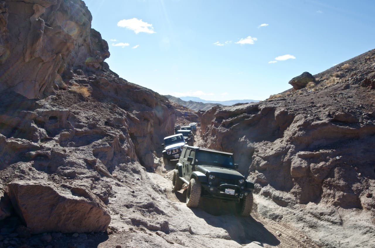 Group of Jeeps in Doran Canyon near Calico