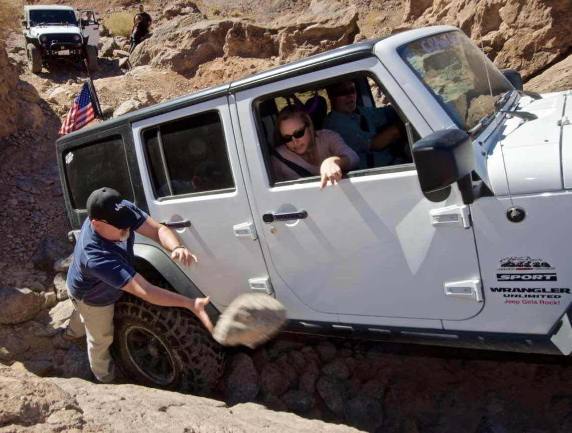 Stacking rocks for a Jeep stuck on the 4x4 trail near Calico Ghost Town