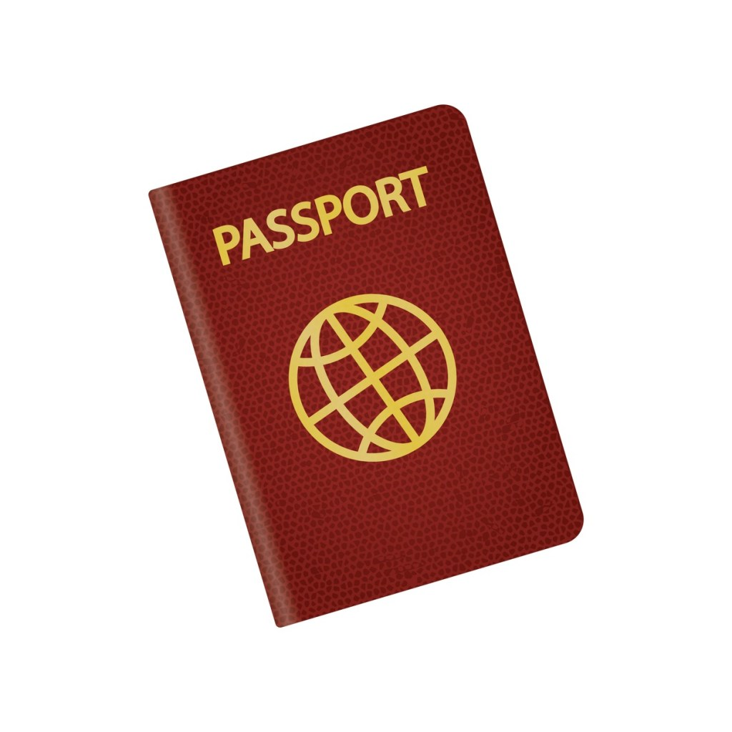 A red, red passport with a golden globe embossed on its cover.