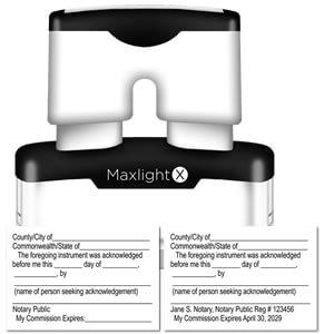 MaxLight X Notary Acknowledgment stamp