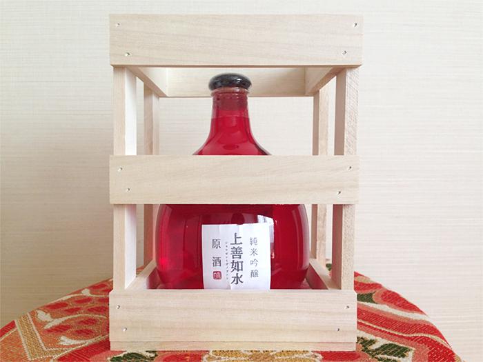 上善如水_6月の酒純米吟醸原酒_ボトルと木箱