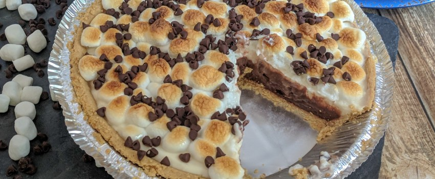 smores pie made with jello pudding, marshmellows and chocolate chips
