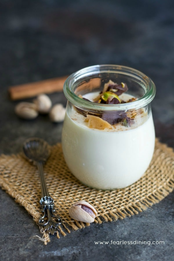 Easy Eggnog Panna Cotta with Pistachio Toffee Crunch