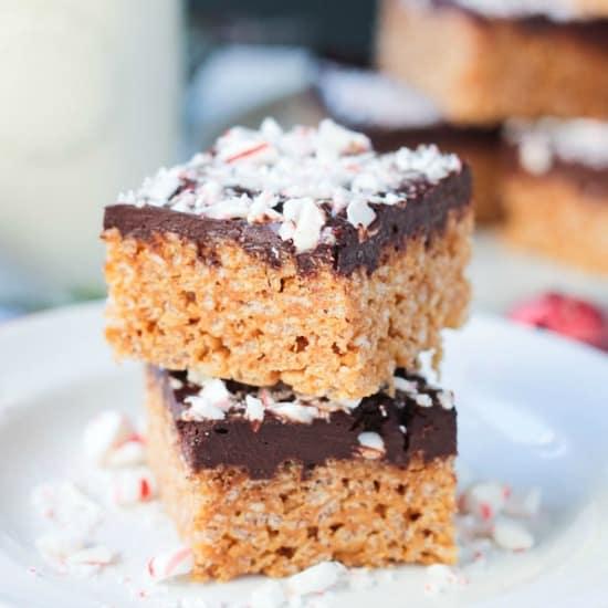 Chocolate Peppermint Rice Crispy Bars