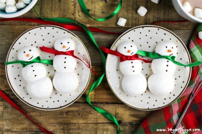 Snowmen Vegan Meringue Cookies