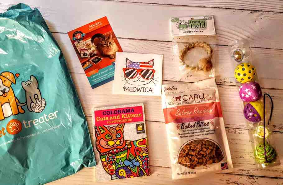 everything in the july pet treater package