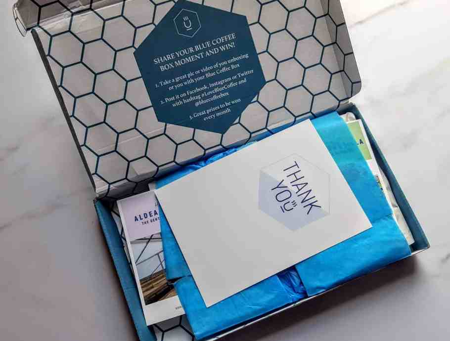 first look in blue coffee box