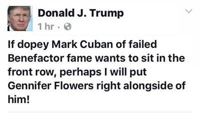 donald trump reponse to mark cuban twitter post front row seat debate