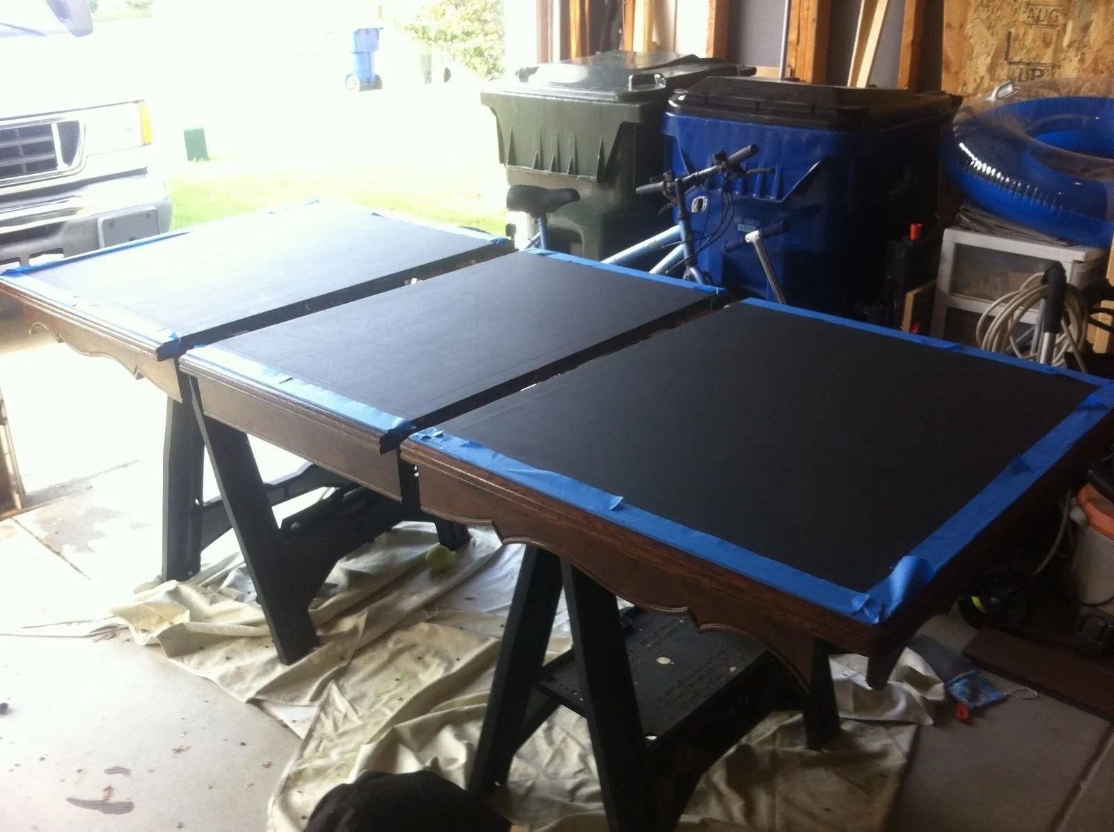 I Reattached The Table Legs And Moved Indoors For The Second Coat.
