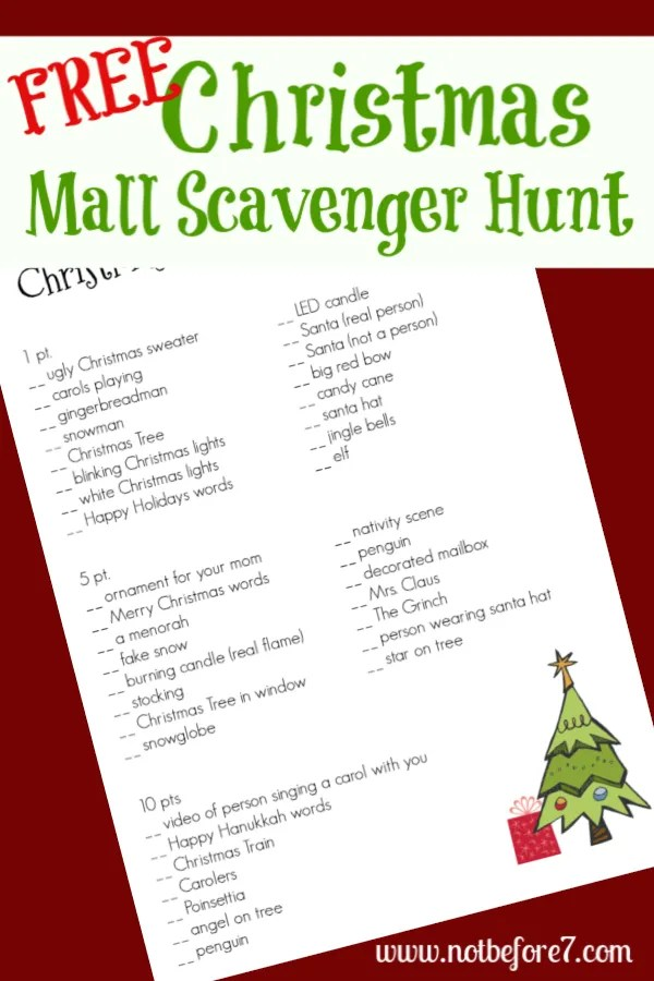 Christmas Mall Scavenger Hunt Not Before 7