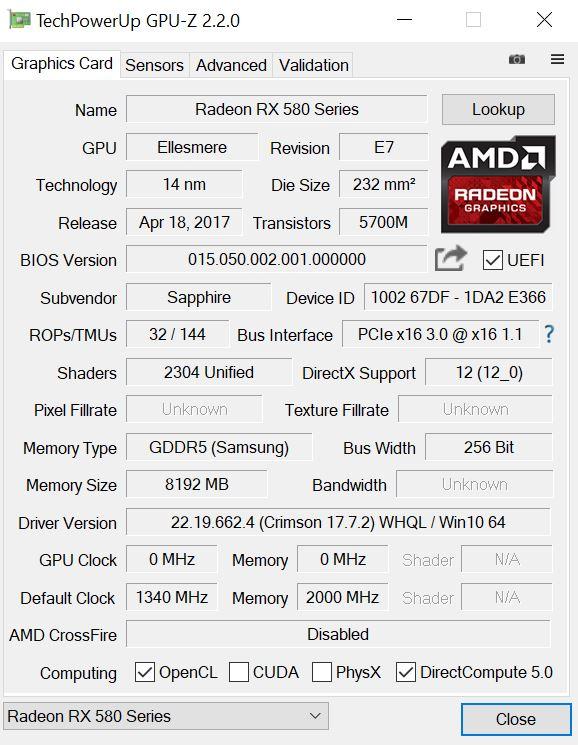 Test Sapphire Nitro+ Radeon RX 580 Desktop Grafikkarte
