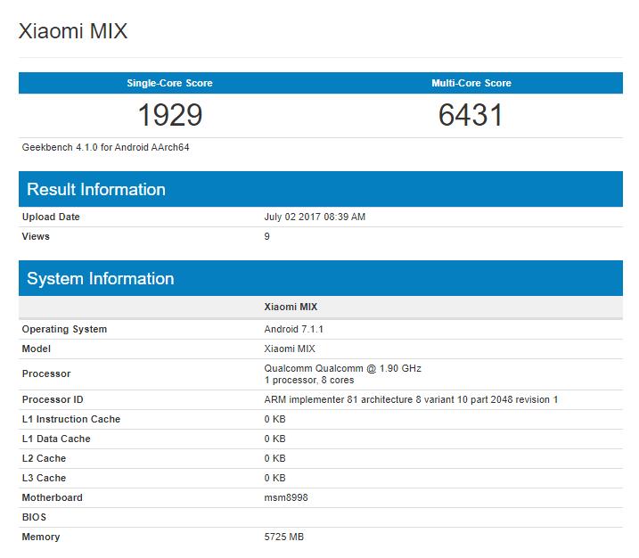Xiaomi Mix 2 Geekbench skorunu içeren görsel