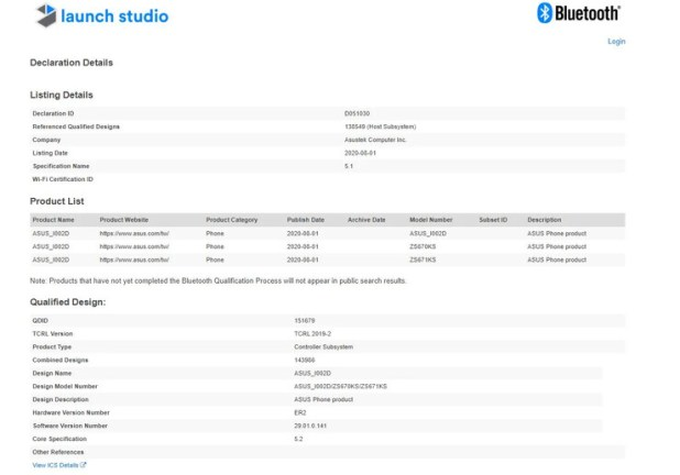 The ASUS_I002D on the Bluetooth SIG database. (Source: Bluetooth SIG via MySmartPrice)