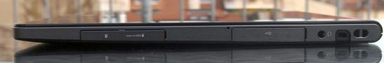 Phía bên tay phải: MicroSD, USB, giắc âm thanh, khóa Kensington